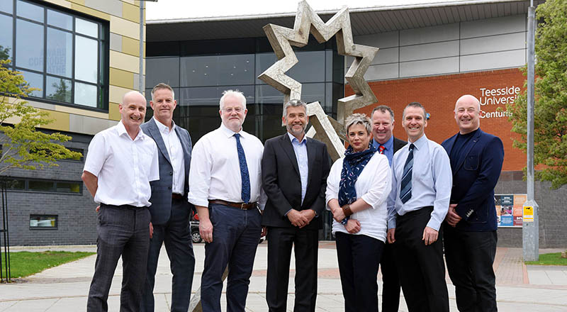 Members of the Teesside University and 2PD Knowledge Transfer Partnership: (L-R) Professor Denis Martin, Professor of Rehabilitation; Jason Timms, Managing Director of 2PD; Dr Alasdair MacSween, Senior Lecturer in Research Governance; Stuart Mead, Chairman of 2PD; Sarah Oatway, KTP Associate; Geoff Archer, Head of Knowledge Exchange, Teesside University; Dr Cormac Ryan, Reader; Eddie Dandy, Director of 2PD