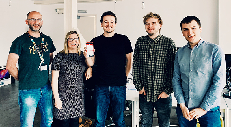 Left to right - Darren Abbot and Jenny Hudson from Teesside University with student Samuel Neesam and Dylan McKee and Alex Birch from Nebula.