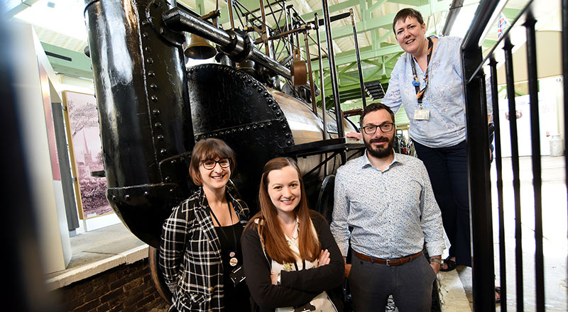 From left, Dr Amber Collings, forensic science lecturer; Rebecca Strong, research student; Professor Tim Thompson; Sarah Gouldsbrough, Head of Steam Darlington Railway Museum