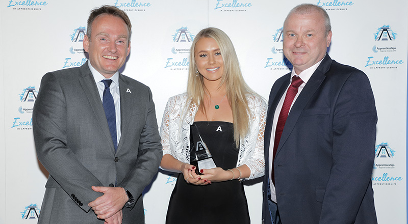 Emma Beauchamp receiving her North East degree apprentice of the year award. Link to Teesside University apprentice wins major award.