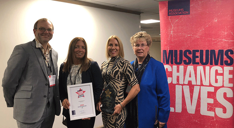 Pictured receiving the award, exhibition designer Glen Chambers, Lesley Strickland and Joanne Hodgson, from Redcar & Cleveland Borough Council and Dr Joan Heggie of Teesside University.