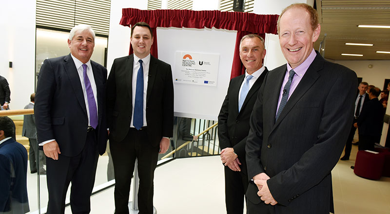 From left - Teesside University Chancellor Paul Drechsler CBE; Tees Valley Mayor Ben Houchen; Teesside University Vice-Chancellor Professor Paul Croney; Steve Bagshaw, Chief Executive Officer of FujiFilm Diosynth Biotechnologies.. Link to Game-changing National Horizons Centre is a powerhouse for the UK bioeconomy .