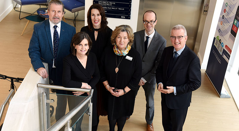 Pat Cambage (Irish Chamber), Professor Jane Turner OBE DL (Teesside University), Julie Underwood (North East England Chamber of Commerce), Dr Susan Laing (Dean, Teesside University Business School), Neil Dee (Irish Chamber) and John McGrane (Irish Chamber).