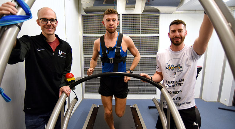 Dr Nicolas Berger with Michael Bleasby and Tom Walker in the environmental chamber