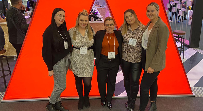 Principal lecturer Beverley Boden (centre) with the prize-winning students (from left) Billie-Jo Bowie, Abbie Waldby, Megan Maguire and Megan McCullow at the Bett Show.