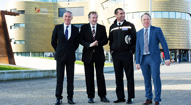 From left - Vice-Chancellor and Chief Executive of Teesside University, Professor Paul Croney;  Police and Crime Commissioner Barry Coppinger; Chief Constable Richard Lewis; and, Professor Paul Crawshaw, Dean of Teesside University's School of Social Sciences, Humanities & Law.