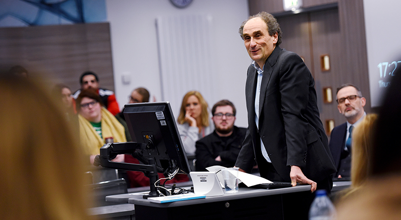 Mr Justice Jacobs talking to law and policing students at Teesside University. Link to Mr Justice Jacobs talking to law and policing students at Teesside University.