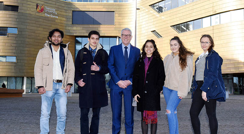 Pictured with Dr David Bell are international students Rushikesh Patil, Hasiel Sarsby, Joanne Patel, Paula Kuchcik and Martyna Dydyk