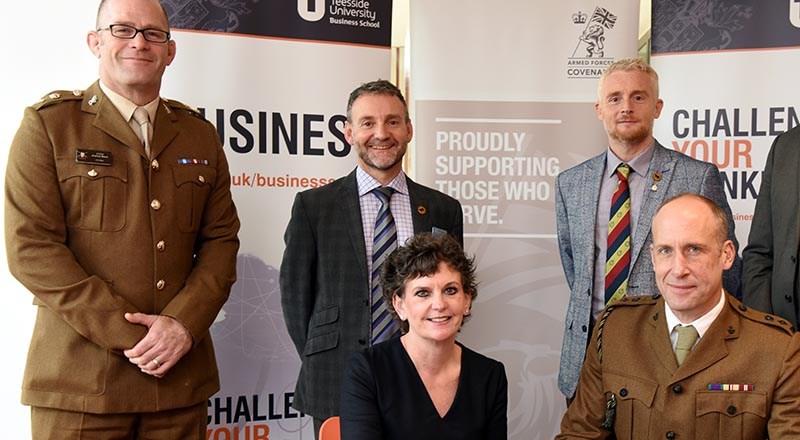 Pro Vice-Chancellor (Enterprise and Business Engagement) Professor Jane Turner OBE DL signing the Armed Forces Covenant at Teesside University last year.