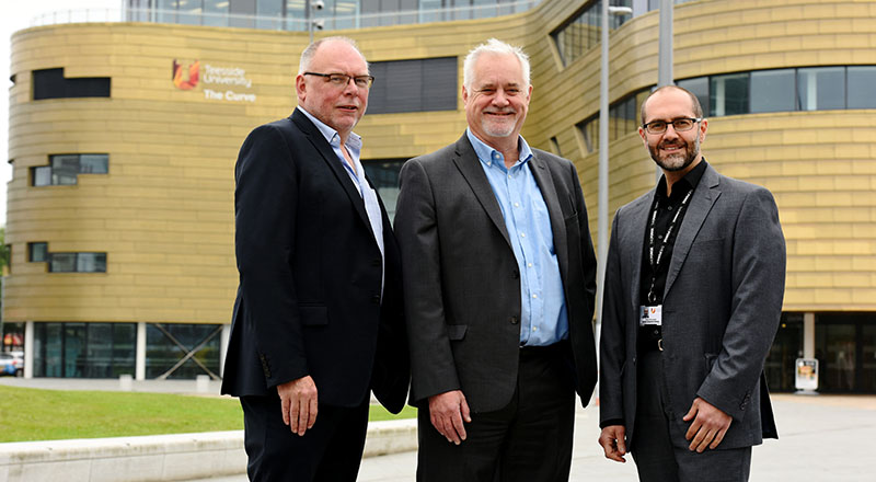 Professor Gary Montague; Malcolm Knott, Managing Director of ITS and Omar Al-Janabi, business innovation manager at Teesside University who provided consultancy to ITS.