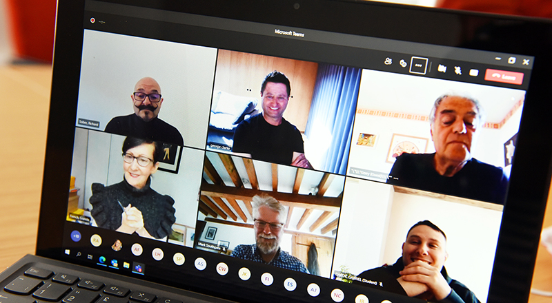 Architect and television presenter George Clarke pictured (top centre) during the online tutorial