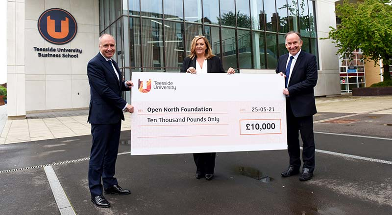 Warren Harrison, Dean of Teesside University Business School with Tania Cooper MBE and Richard Swart, from the Open North Foundation.