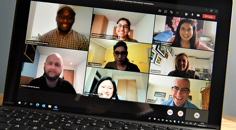 Dr David Bell congratulated ISB draw winners in a special online meeting. Link to Fantastic feedback from international students.