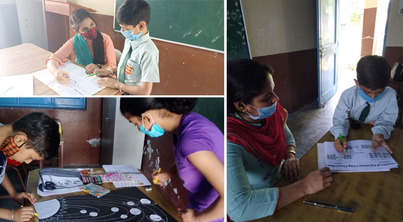 School children from Alpine Public School in India use the resources supplied by Teesside University students.. Link to Teesside University students use their expertise to provide support for teachers in India.
