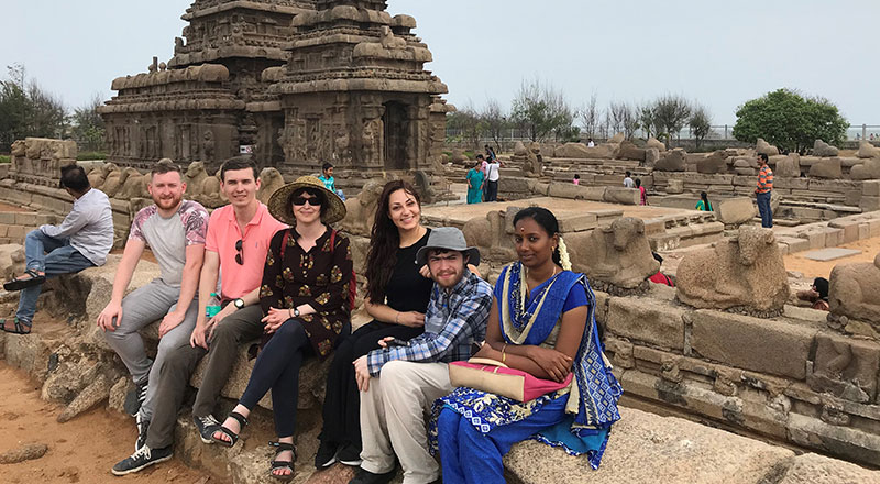 Teesside Students at Mahabalipuram UNESCO World Heritage site as part of a visit to SRM Chennai, India, in 2019.