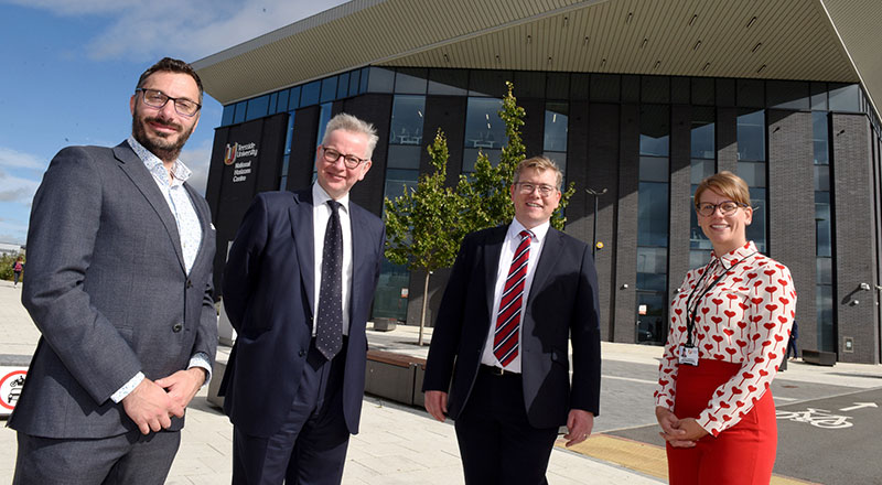 Professor Tim Thompson, Dean of Teesside University's School of Health & Life Sciences; Secretary of State for Levelling Up, Housing and Communities, the Rt Hon Michael Gove MP; Peter Gibson, MP for Darlington; Dr Jen Vanderhoven, Director of the National Horizons Centre.