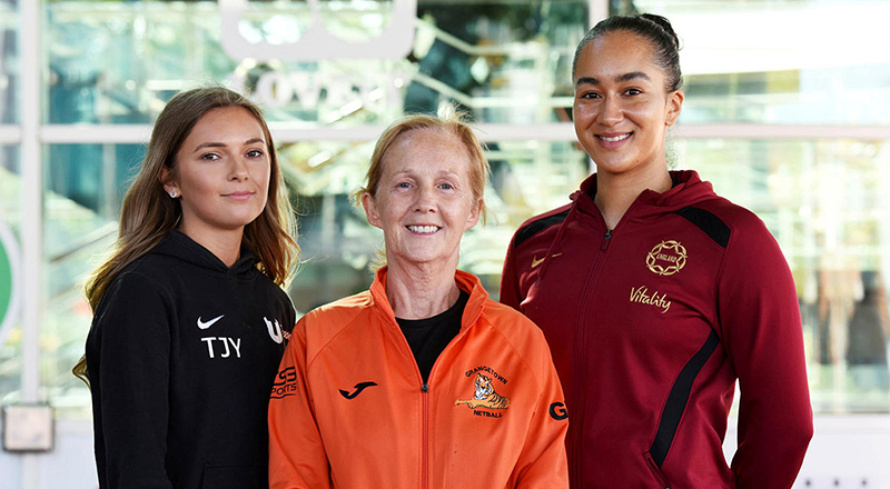 From left: Taylor Young, Teesside University netball team; Gel Williams, Grangetown Netball; Brie Grierson.. Link to Support for sports students from international netball duo.