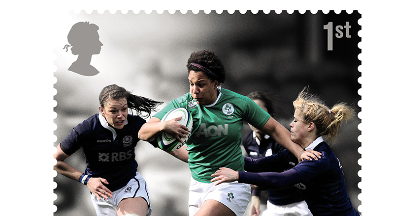Teesside University graduate Sophie Spence, pictured in green, on the new Royal Mail stamp. Link to Sophie among rugby stars celebrated on commemorative stamps.