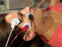 Charlotte Skippon has her brain activity examined