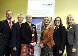 Picture Caption: Teesside University's Leadership, Management and Growth Team. From left – Andy Barras, Jeanette Sumler-Hutchinson, Elaine Hooker, Michelle Tanner, Claire Cook and Joanne Hughff.