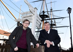 Dr Ben Roberts, pictured at HMS Trincomalee with David McKnight