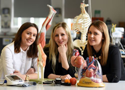 Dr Laura Brown, Senior Lecturer in Nutrition, Food and Health Sciences, pictured centre, with BSc (Hons) Food and Nutrition students Rebecca Bligh and Zoe Johnston