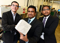 From left - Dr Carlos Insaurralde, Dr Pattanathu Rahman and Dr Manu Ramegowda who are part of a team researching how concrete can self heal using bacteria.