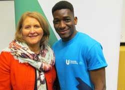 Children's Commissioner Anne Longfield OBE, with Teesside University student Yacouba Traore.
