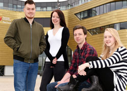 From left, Mikey Cunningham, BSc (Hons) Sports and Exercise (Sports Studies); Leeanne Chapman, BSc (Hons) Nursing Studies (Learning Disabilities) (Pre-Registration); Rob Nicholds, BSc (Hons) Computer Games Programming; Sophie Lamond, BA (Hons) Early Childhood Studies.