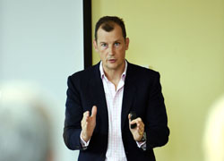 Will Butler-Adams addressing members of the Business Exchange at Teesside University's Darlington campus.