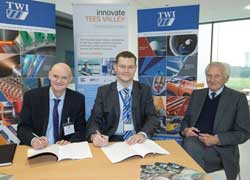 Professor Simon Hodgson with Dr Mike Russell and Lord Heseltine CH.