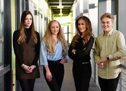 Members of the DigitalCity Student Board. From left - Alexandra Moylan-Jones, Scarlett Reeves and Natalie Woods and Jack Mason.
