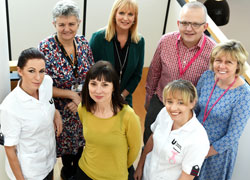 Front from left, student nurse Kelly Spence; Jill Foley, principal lecturer nursing; student nurse Sophie Proud. Back from left, School of Health & Social Care academics, Jacquie Horner, Marie Gressmann, Mark Wheatley and Ann French.