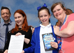 Pictured from left: Annabelle's dad Peter Foulds, Teesside University academic Gabrielle Kent, Annabelle Foulds and Annabelle's mum Dorothy Foulds.