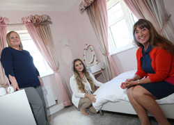 From left - Miller Homes sales manager Donna Brown, Charlie Dempster and Julie Watson from Q Interiors.