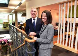 Vice-Chancellor and Chief Executive Professor Paul Croney with Liz Jolly, Director of Student and Library Services.