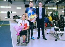 Jade Jones-Hall, Harry Tanfield and Professor Mark Simpson.