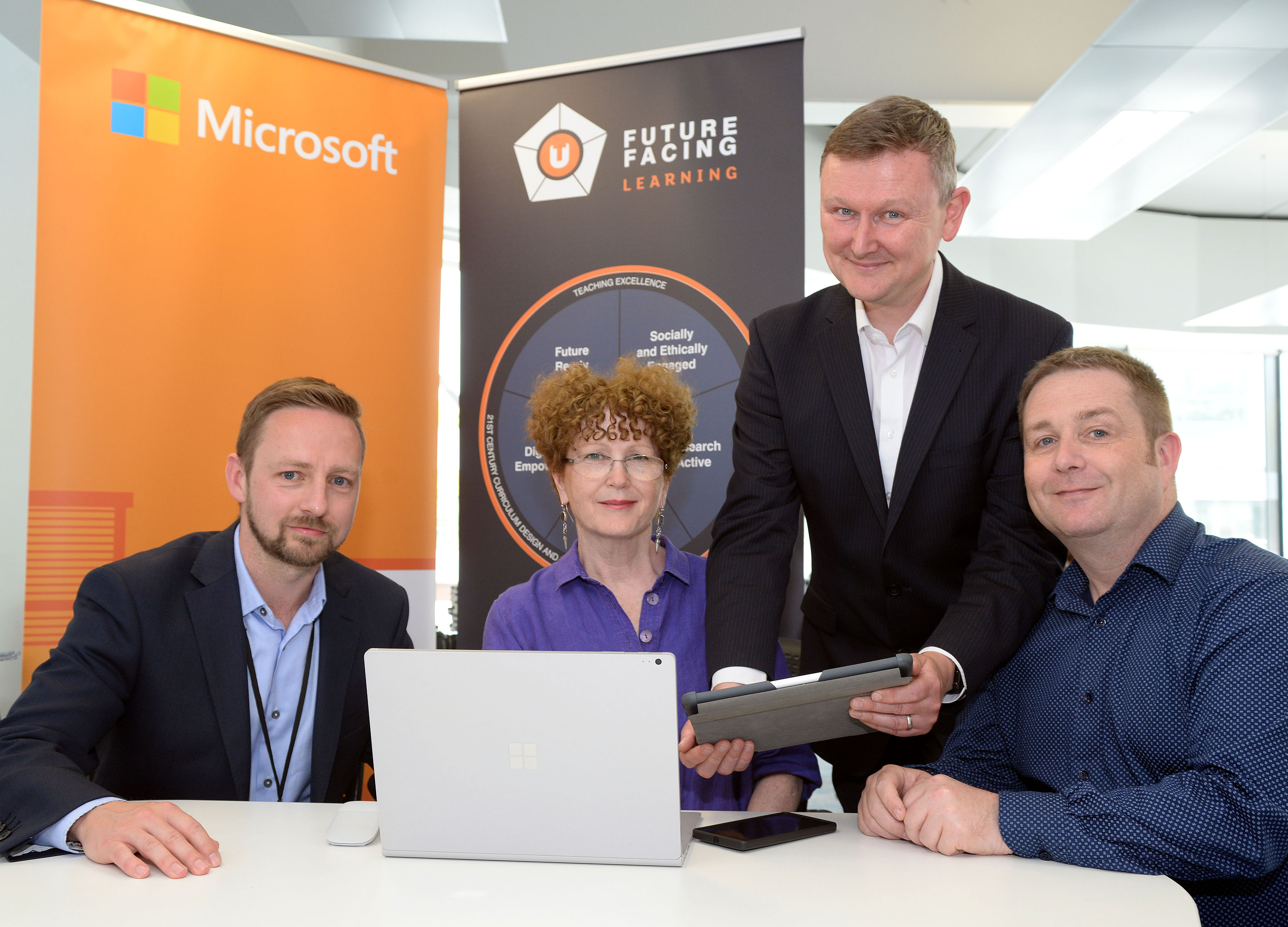 Paul Durston, Digital Learning Manager at Teesside University, Claire Riley, FE and HE Engagement Manager for Microsoft in the UK, Dr Steve Bunce, Professional Learning Specialist at XMA and David Wright, Microsoft Specialist at XMA.