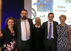 L-R: Hilary Garrett (Deputy Chief Nursing Officer for England), Christopher Bradshaw, Margaret Kitching (Chief Nurse NHS England and NHS Improvement), Matthew van Loo (Senior Lecturer and Programme Leader), Ruth Holt (Director of Nursing NHS England).