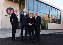(From left) Vice-Chancellor and Chief Executive Professor Paul Croney, Chairman of the Board of Governors Alastair MacColl, Chancellor Paul Drechsler CBE and Dean of Teesside University Business School Dr Susan Laing.
