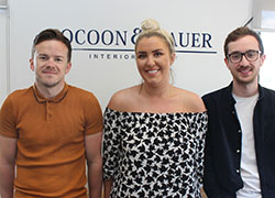 Cocoon & Bauer managing director Peter Turner with interior designers Casey Hall and Josh Ryan
