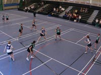 Netball in the Olympia Building sports hall