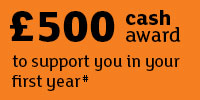 £500 cash award to supporet you in your first year. Link to Teesside Kickstart award.