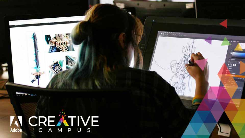 Animation student on campus