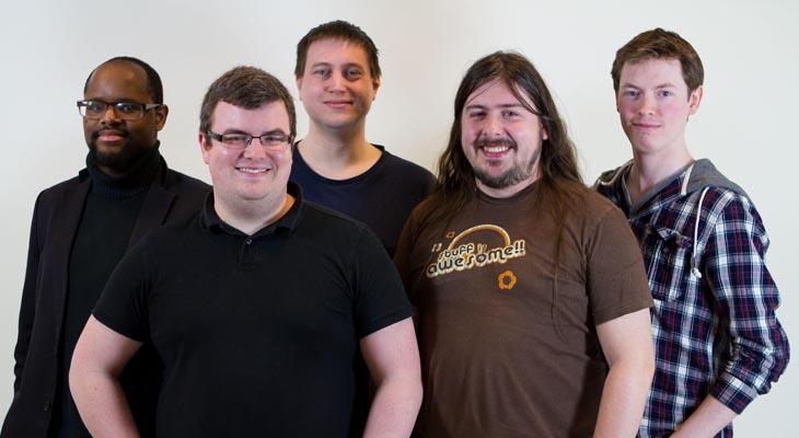 Robo Pixel Games (front left) Tom Didymus, (front right) James Batten, (back left) Jonathan Clarke, (back middle) Andrew Burnet and (back right) Elliott Oldham