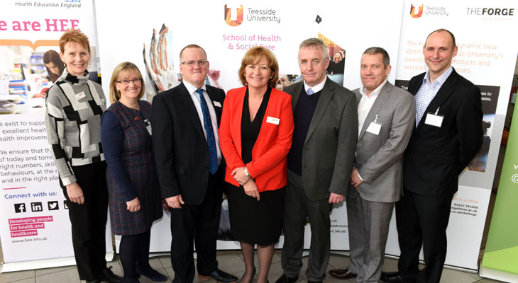 From left - Anne Binks (Assistant Dean,  School of Health & Social Care), Gillian Janes (Principal Lecturer, School of Health & Social Care), Dr Seamus O'Neill (Chief Executive Officer, AHSN NENC), Linda Nelson (Assistant Dean, School of Health & Social Care), Professor Ged Byrne (Director of Education and Quality, Health Education England), Mr Jon Hanson, (HEE NE),  Mr Tony Roberts (Patient Safety Collaborative Programme Lead, AHSN NENC).