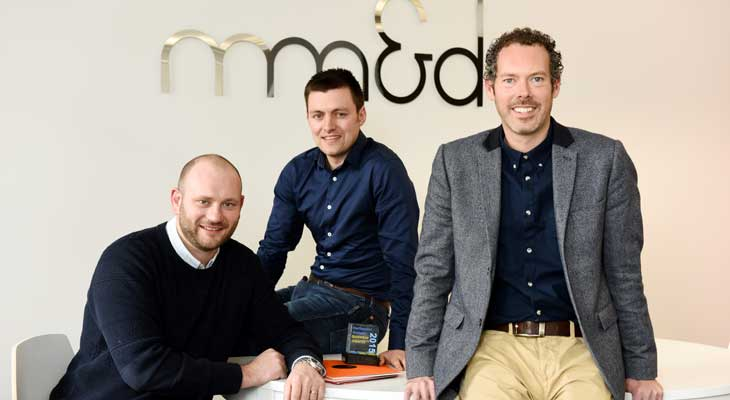 mm&d management team (left to right): Digital Director Mark Skirving, Business Development Manager Owain Jenkins, and Design Director Gavin Hatton.