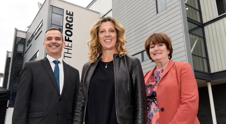From left: Keith Hurst (Associate Dean, Teesside University Business School), Sally Gunnell and Laura Woods (Director of The Forge).