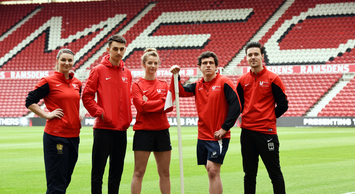 Members of Teesside University's Elite Athlete Scheme at Middlesbrough FC's Riverside Stadium