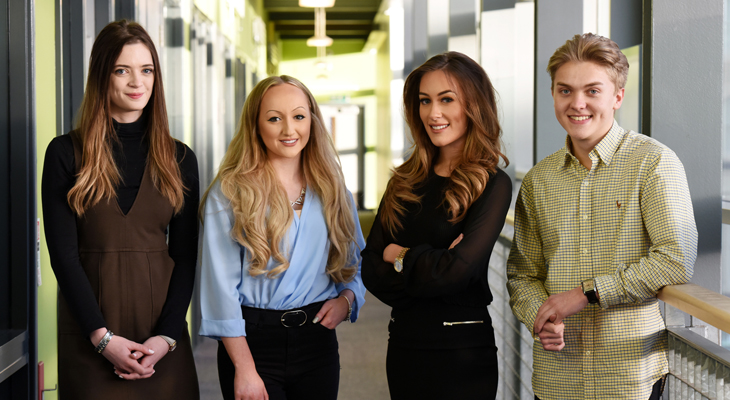 Members of the DigitalCity Student Board. From left - Alexandra Moylan-Jones, Scarlett Reeves and Natalie Woods and Jack Mason.